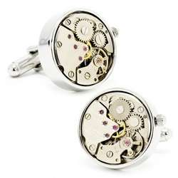 Silver Watch Movement Cuff Links