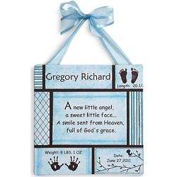 Personalized Blue Baby Information Art Canvas