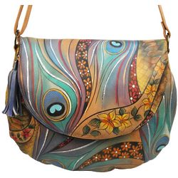 Hand Painted Leather Large Flap-Over Convertible Bag
