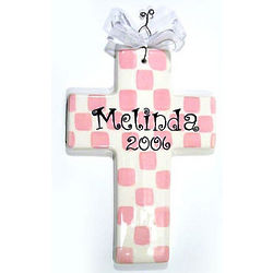 Personalized Checkered Ceramic Cross
