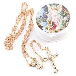 Guardian Angel Baby Pink Rosary