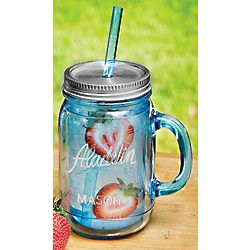 Aqua Mason Tumbler Jars