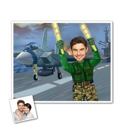 Flight Deck Coordinator Custom Caricature Art Print