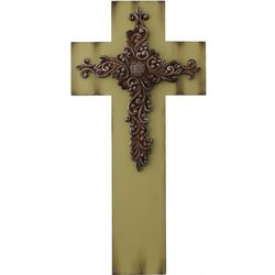 Green Wall Cross with Metal Scroll