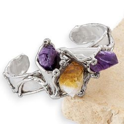 Raw Gemstones Cuff Bracelet