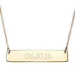 Custom Engravable Date Gold Bar Necklace