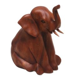 Elephant Child Wood Sculpture