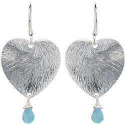 Aquamarine Briolette Earrings with Sterling Silver Hearts