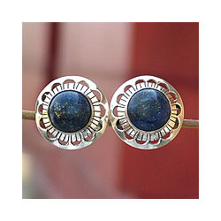 Lapis Lazuli Blue Moon Halo Earrings