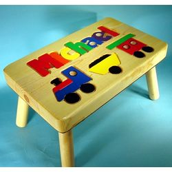 Personalized Puzzle Train Step Stool