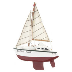 Personalized Wooden Sailboat with Red Hull Christmas Ornament
