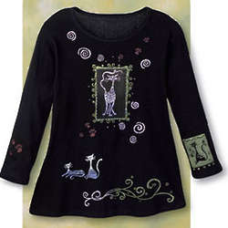 Cats Long Sleeve Scoop Neck Shirt
