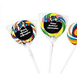 Personalized Birthday Dot Swirl Pops