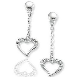 14k White Gold Pavé Cut Hanging Heart Drop Earring