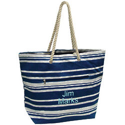 Eco Friendly Personalized Striped Beach Tote Bag