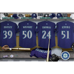 Seattle Mariners 16x24 Personalized Locker Room Canvas