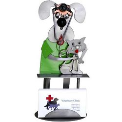 Dog Veterinarian with Cat Business Card Holder