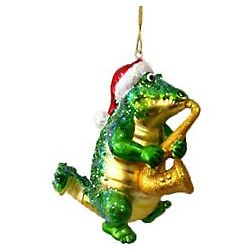 Saxophone Playing Gator Ornament