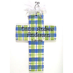 Personalized Plaid Ceramic Cross