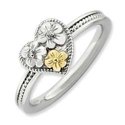 Sterling Silver Floral Heart Stack Ring with Diamonds