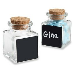 Chalkboard Glass And Cork Favor Jars