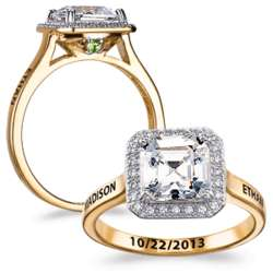 Gold Over Silver CZ Asscher Hidden Birthstone Couple's Ring