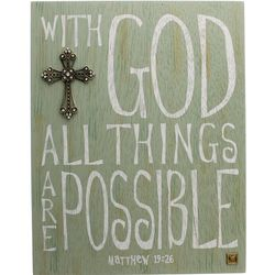 With God All Things Are Possible Cross and Plaque