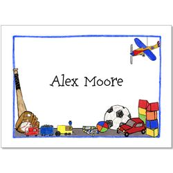 Boy's Toys Personalized Folded Notecards