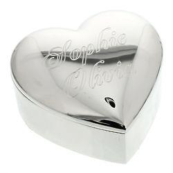 Personalized Silver-Finish Heart Trinket Box