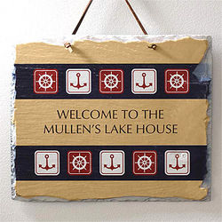 Nautical Welcome© Personalized Slate Plaque
