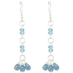 Aquamarine Beaded Earrings in Sterling Silver