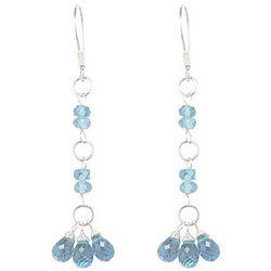 Aquamarine Beaded Earrings in Sterling Silver