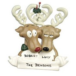 Reindeer Family of 2 Personalized Christmas Ornament