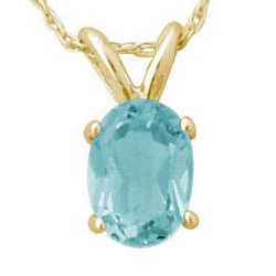 5x3 mm, Oval Aquamarine Pendant Set in 14k Yellow Gold