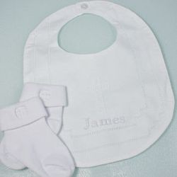 Embroidered Cross Bib and Socks Christening Set