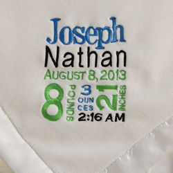 Birth Announcement Personalized Baby Boy's White Blanket