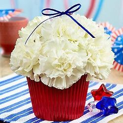 Red, White and Blooming Flower Cupcake