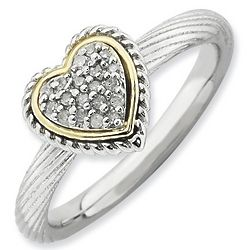 Diamond Heart Stack Ring with 14K Gold