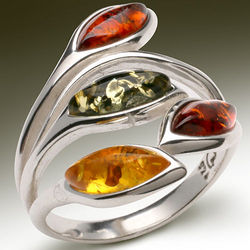 Amber Leaves Sterling Silver Ring