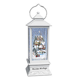 Thomas Kinkade All Is Calm, All Is Bright Snowglobe Lantern