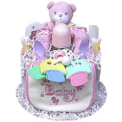 1 Tier Girl's Diaper Cake