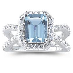 Diamond and Aquamarine Ring in 14K White Gold
