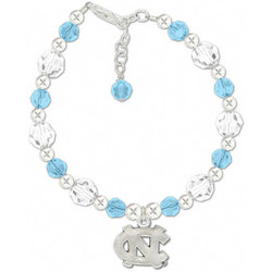 North Carolina Tar Heels Round Crystal Bracelet