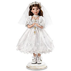 Her First Holy Communion Porcelain Doll in Brunette