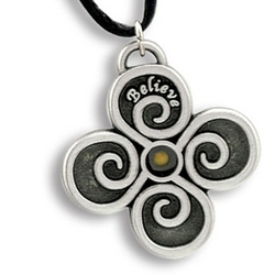 Spiral Cross and Mustard Seed Pendant