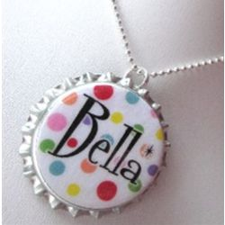 Personalized Rainbow Bottle Cap Necklace