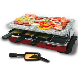 8 Person Red Classic Raclette Party Grill with Granite Stone