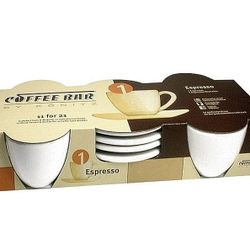 Coffee Bar 4 Cups Espresso and Saucers Set