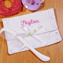 Embroidered Baby Girl's First Lock of Hair Pouch
