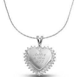 CZ Hearat Locket Necklace